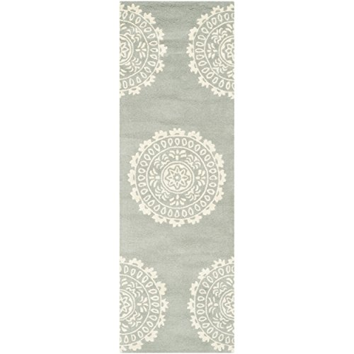Safavieh Bella Collection BEL122A Handmade Grey and Ivory Wool Runner, 2 feet 3 inches by 7 feet (2'3