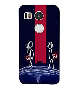 Fuson Night Love Couple Back Case Cover for LG NEXUS 5X - D4008