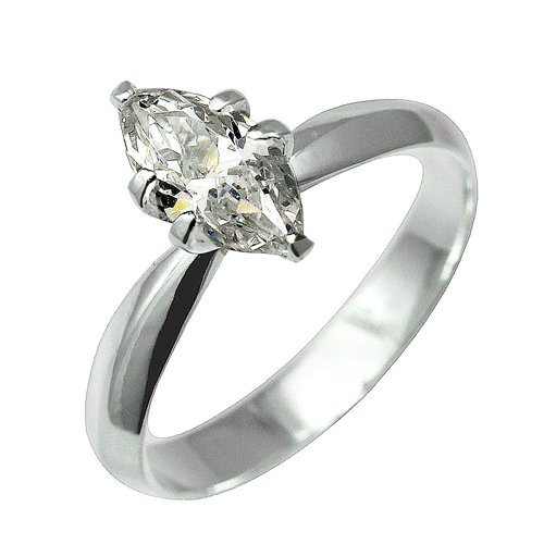 925 Sterling Silver Clear Cz Marquise Solitaire Prong Set Engagement/wedding Ring; Comes with Free Box and Velour Pouch (5)