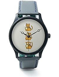 BigOwl Cat Coffee And Glasses Brown Analog Premium Men's Wrist Watch 2002474502-RB1-B-GRY