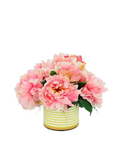 Creative Displays Pink Peony Bouquet in a Striped Container