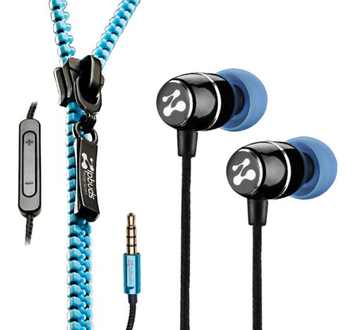 Zipbuds FRESH Earbuds - (Tangle-Free Zippered Earphones) (Blue + Mic/Remote) Black Friday & Cyber Monday 2014