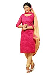 Trendy Fashion Women's Chanderi Cotton Unstitched Dress Material (TF-0009_Pink _Free Size)