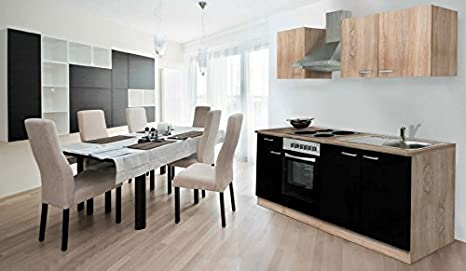Respekta Fitted Kitchen Units 210 cm Imitation Rough Sawn Oak Sonoma Black