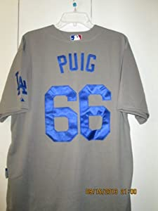 Los Angeles Dodgers Yasiel Puig Grey Cool Base Jersey (50 L;) by COOL BASE MAJESTIC