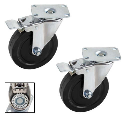 Pair Heavy-Duty 5 in. Swivel Casters with Double-Lock Brake – 600 LB for the Set of Two