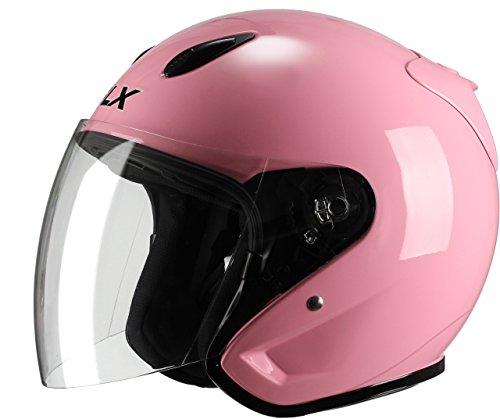 GLX Moped Scooter Cruiser Open Face Motorcycle Helmet (Gloss Pink, X-Large) (DOT 3/4) (Pink Open Face Motorcycle Helmet compare prices)