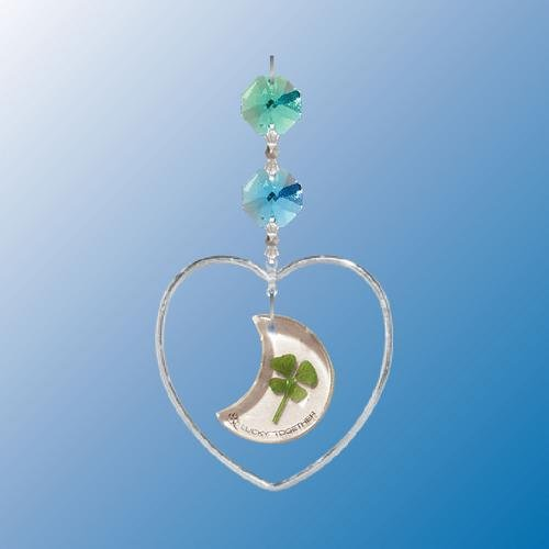 Hanging Sun Catcher Or Ornament..... Heart Shapped W/ 4 Leaf Moon Clover With Swarovski Austrian Crystals front-455343