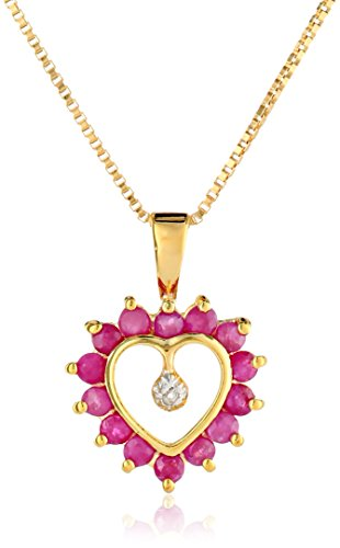 18k Yellow Gold-Plated Sterling Silver Ruby Heart Pendant Necklace, 16""