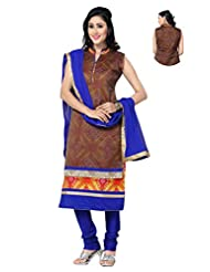 Ritu Creation Women's New Silk Stitched Straight Fit Long Double Flap Design With Embroided(Brown With Blue)