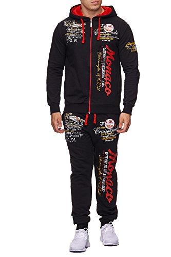 Tuta da jogging per uomo | Monaco 684| tuta da allenamento in 100% cotone | giacca da allenamento con cerniera | pantaloni da jogging con coulisse e cordoncino | tuta per Sport, con tessuto a costine | S-XXL nero/rosso XL-Sottile