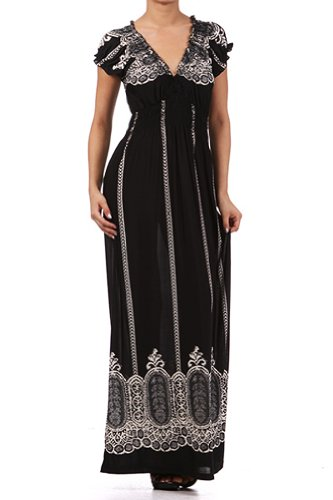 Kiwi Co. Lacey Off the Shoulder Cap Sleeve Maxi Dress Black One Size
