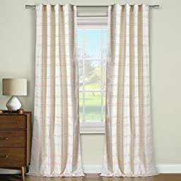 Duck River Textiles Lanai Narrow Stripe Faux Linen Pair Panel with Foam Back Rod Packet and Back Tab, Cinnamon Linen