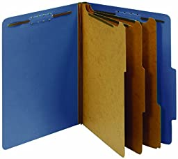 Globe-Weis/Pendaflex Colored Classification Folders, 2/5 Cut Tab, 3 Dividers, Embedded Fasteners, Letter Size, Dark Blue, 10 Folders Per Box (24096)
