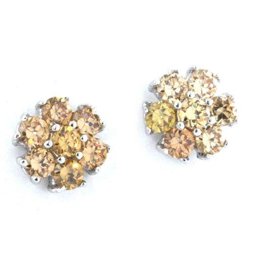 Sterling Silver Yellow Citrine CZ Daisy Flower Stud Earrings