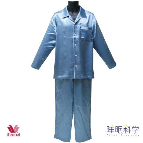 ワコール【睡眠科学】 高級シルク100% 無地カラー 長袖メンズパジャマ    カラー:ブルー (紳士  Mサイズになります)