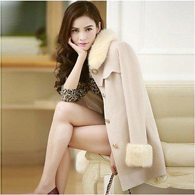 PU&PU chaoliu nuovo inverno occidentale autunno delle donne di medie dimensioni cappotto di lana con collo di pelliccia , cream , xl