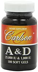Carlson Labs Vitamin A and D, 25000/1000 IU, 100 Softgels
