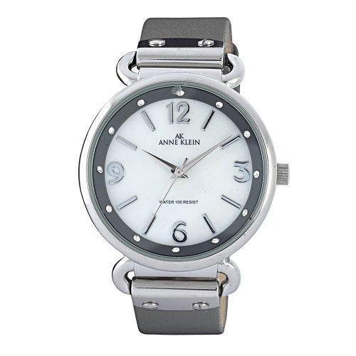 AK Anne Klein Women's 109651MPGY Swarovski Crystal Silver-Tone Mother-Of-Pearl Dial Grey Leather Strap Watch