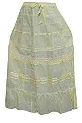 Indiatrendzs A-Line Skirts Women's Cotton Green Long Plain/Solid Lace Skirt