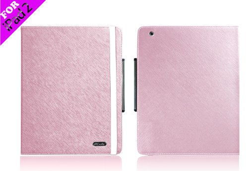 Pink iPearl Leather Carrying Folia Cover Case for iPad 2, with Built-in Stand, hand strap and Touch Screen Stylus Pen for all 2nd Generation iPad 2 Tablet (3G / WiFi model 16GB, 32GB, 64GB)