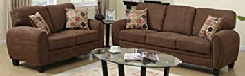 2 pc Martha collection dark brown linen like fabric upholstered rounded top arms sofa and love seat set