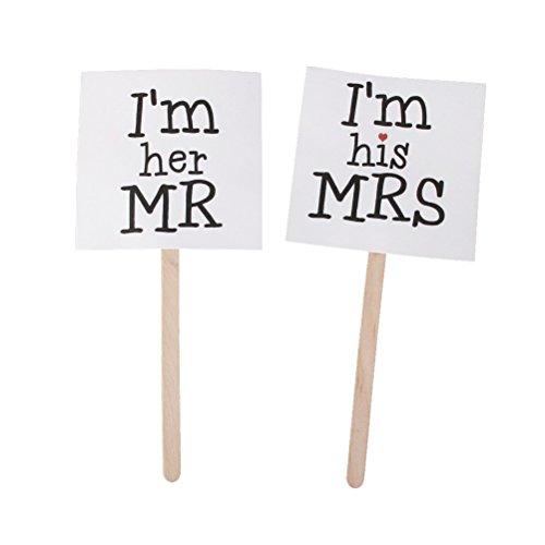 Pixnor-Fte-de-Mariage-Photo-Booth-Props-Sur-des-Btons-Avec-Mr-et-Mrs-Blanc