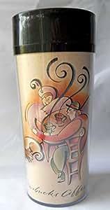 Starbucks travel coffee mug fancy lady man dog in coffee house drinking brown - Fancy travel coffee mugs ...