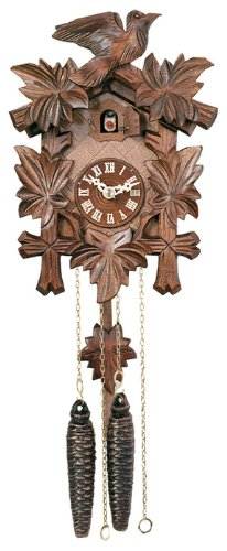One Day Cuckoo Clock with Five Maple Leaves & One Bird
