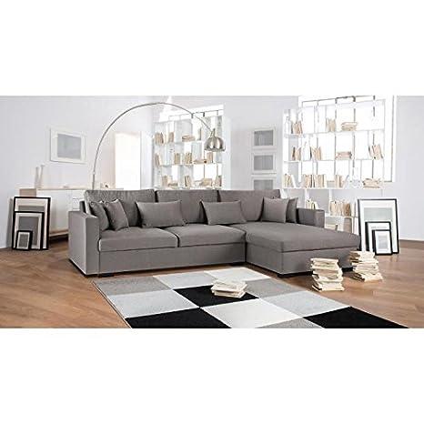 Malma canapé d'angle réversible 5 places - 290x103-173x85 cm - tissu - gris taupe