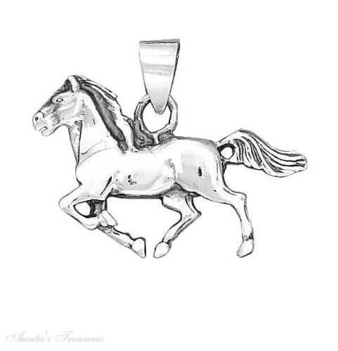 """Sterling Silver 18"""" 1.5Mm Wide Box Chain Boys Necklace With Small Running Horse Animal Pendant"""