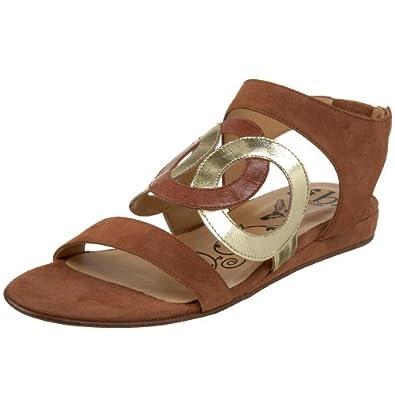 Tibi Women's Provence Sandal,Chestnut Suede/Gold,5 M US