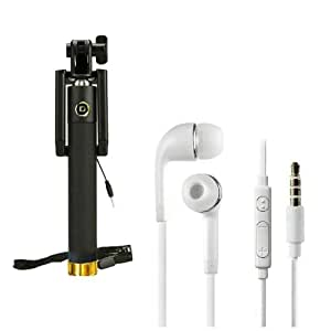 Premium Travel 3.5 mm Jack Universal Handsfree+Sefie Stick Aux Compatible with HTC Desire 526G Plus