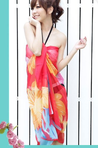 Tamari Red Floral Print Sarong Beach Cover Up Wrap One Size