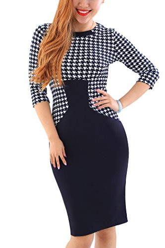 yming-women-3-4-sleeve-wear-to-work-business-party-bodycon-casual-pencil-dress