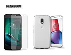 Motorola Moto G4 Play,Combo Offer {Imported Transparent Plain Cover Plus Tempered Glass} For Motorola Moto G4 Play