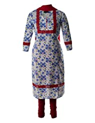 Self Printed Fine Cotton Kurti With Red Lace Embroidered Salwar Suit