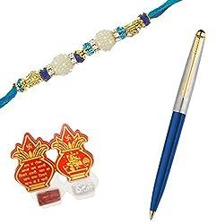 Parker Galaxy Standard Gold Trim Ball Pen Blue Body with Premium Rakhi