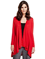 Per Una Open Front Velvet Trim Waterfall Cardigan