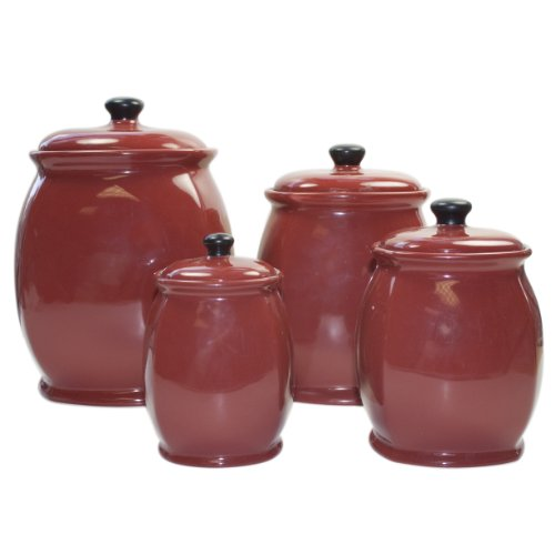 Ceramic Chili Red 4-Piece Canister Set