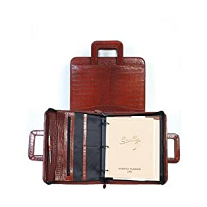 Scully Crocodile Leather Zip Binder With Drop Handles 96z-0-Crocodile Color: Brown