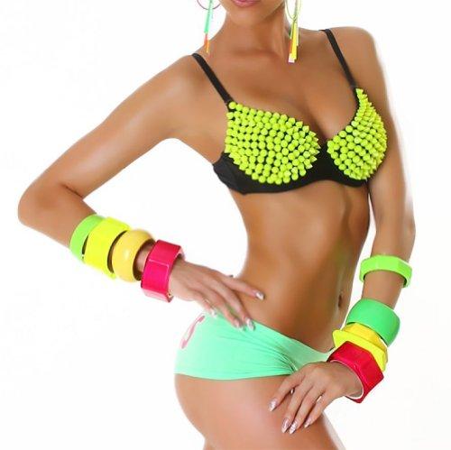 Jela London Push Up BH mit Nieten - Sexy Spikes Bügel-BH Neongelb (Gr. 65-80 Cup B) GoGo Outfit Top Clubwear