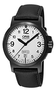 Oris Men's 73576414766LS BC3 Sportsman Day Date Black DLC Case and Leather Strap Watch by Oris