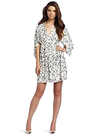 Rachel Pally Women's Mini Printed Caftan Dress, Black Giraffe, X-Small