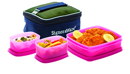 Signoraware Hot N Cute Lunch Box with Bag, Pink