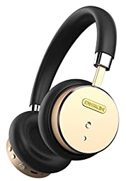 Diskin DH1 Bluetooth Wireless Headphones with Inline Microphone, Stereo Sound Audiophile Beats, Lightweight Bluetooth Headset - Black / Gold