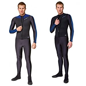 NeoSport Wetsuits Men's Premium Neoprene 2.5mm Zipper Vest,Blue Trim,Medium