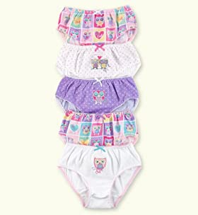 5 Pack - Older Girls&#39; Pure Cotton Assorted Owl Briefs