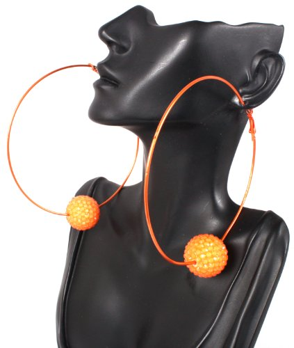 Basketball Wives Earrings Orange 3.85 Inch Hoops with an Iced Out Disco Ball Paparazzi Shamballah Mob Wives