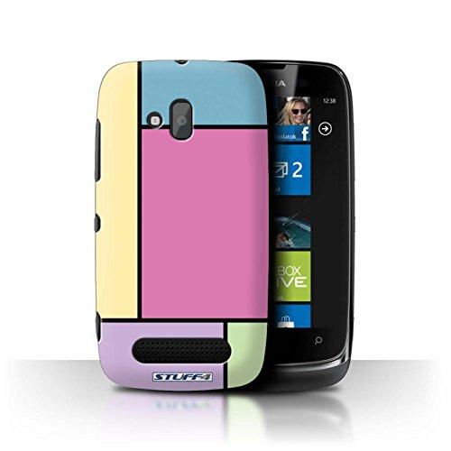 Stuff4 Hülle / Hülle für Nokia Lumia 610 / 5 Fliesen/Rosa Muster / Pastell Fliesen Kollektion